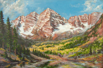 Maroon Bells II, 24x36, oil